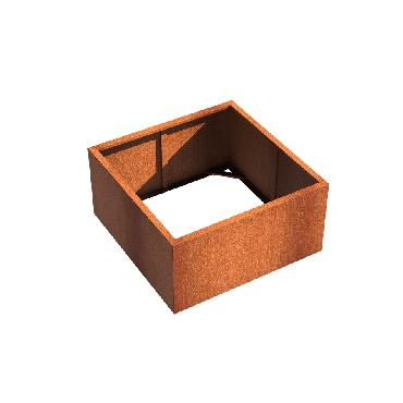 Pot carré ANDES sans fond en acier corten 1200x1200x600 mm