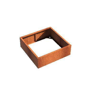 Pot carré ANDES sans fond en acier corten 1200x1200x400 mm