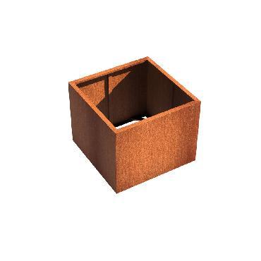 Pot carré ANDES sans fond en acier corten 1000x1000x800 mm