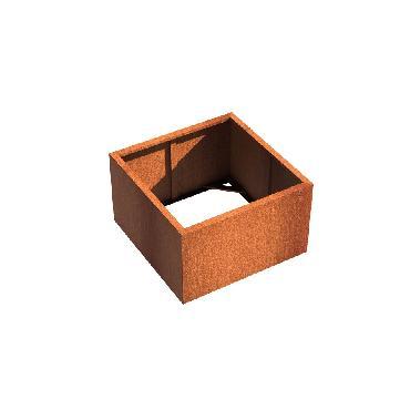 Pot carré ANDES sans fond en acier corten 1000x1000x600 mm