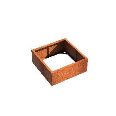 Pot carré ANDES sans fond en acier corten 1000x1000x400 mm