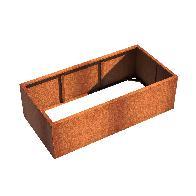 Pot rectangulaire ANDES sans fond en acier corten 2000x1000x600 mm