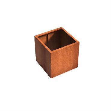 Pot carré ANDES sans fond en acier corten 800x800x800 mm