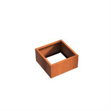 Pot carré ANDES sans fond en acier corten 800x800x400 mm