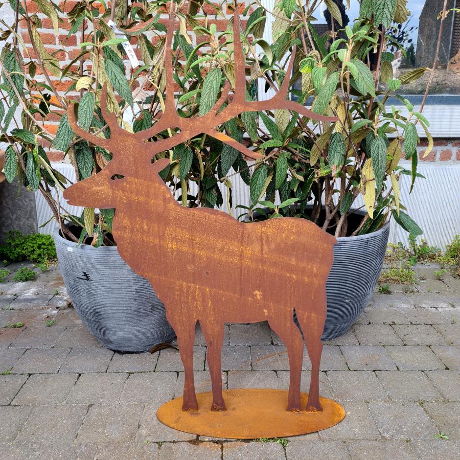 Cerf magnifique H65cm à poser en fer rouillé