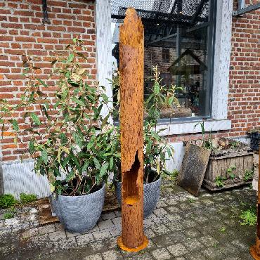 Colonne de feu étagée grande H190cm à poser en fer rouillé