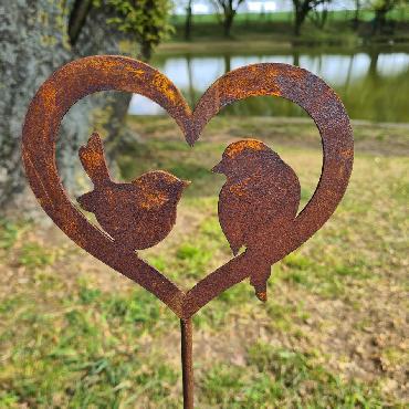 Coeur 2 oiseaux H72.5cm à piquer en fer rouillé