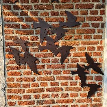 Envolée d'oiseaux L132cm à fixer au mur en fer brun