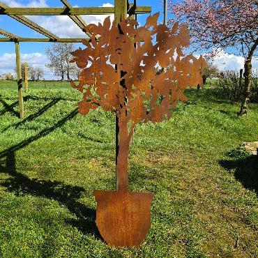 Arbre oranger en pot H180xl 100cm à piquer en fer rouillé