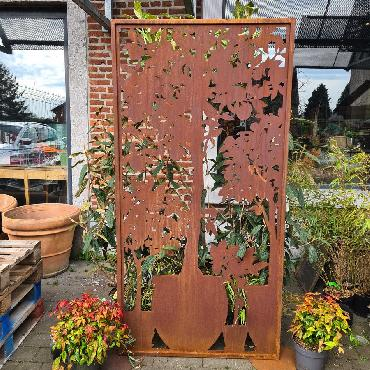 Grande palissade pots agrumes H200xl 100cm à poser et à fixer en fer rouillé